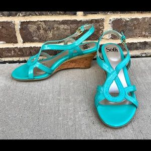SOFFT Teal Wedges 🌼 LIKE NEW 🌼 Size 8